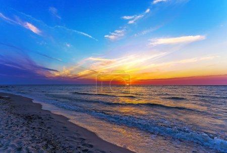 Sunset on beach.