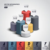 Vector pillars with your indicators business infographics template
