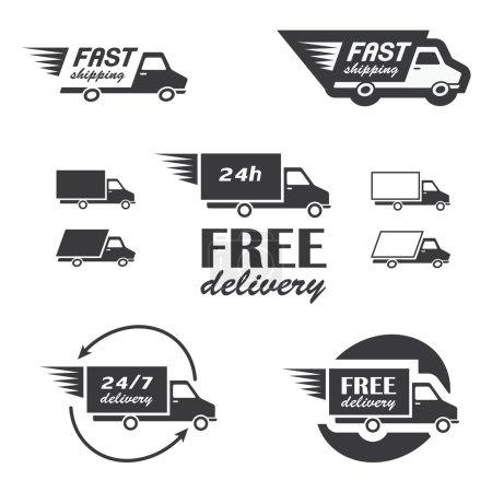 Illustration pour Ensemble d'icônes de livraison avec des camions en vecteur - image libre de droit