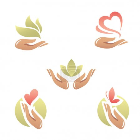 Illustration for Set of abstract beauty and health icons with elegant woman hand - Royalty Free Image