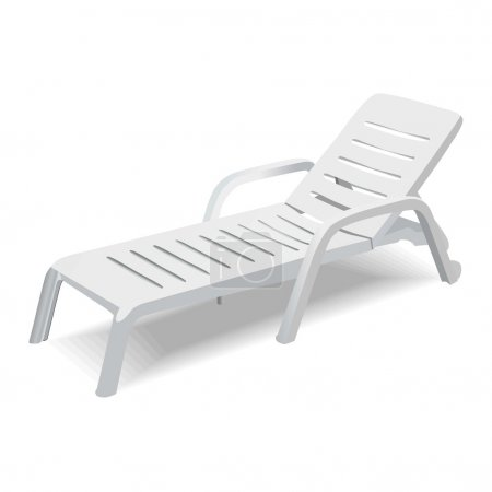 Vector deck chair on white background...