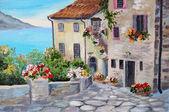 """Постер, картина, фотообои """"живопись маслом на холсте, красивые дома у моря"""""""