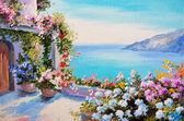 "Постер, картина, фотообои ""Картина маслом - дом возле моря"""