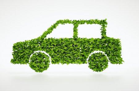 Ecology car symbol with white background