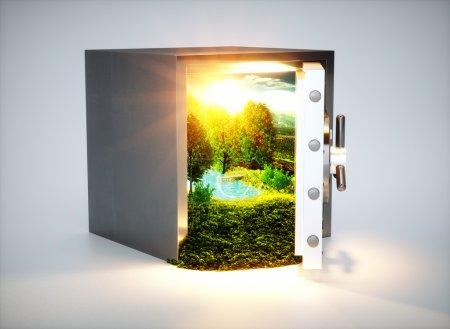 Foto de Salvar la naturaleza! 3D render concepto de protección de la naturaleza. - Imagen libre de derechos