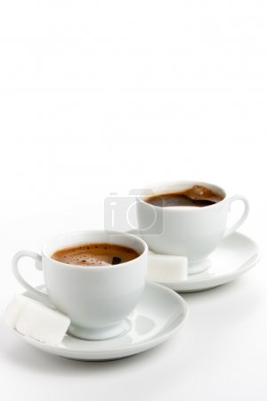 Photo for Two cups of coffee with sugar cubes - Royalty Free Image