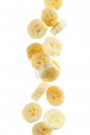 Photo for Several banana slices, on white background - Royalty Free Image
