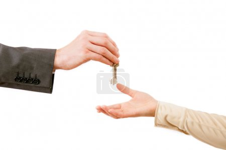 Man and woman hands with flat keys