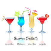 Summer cocktails set isolated