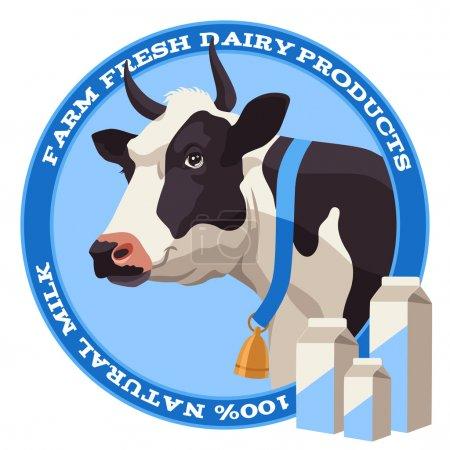 Illustration pour Vache avec cloche et paquet de lait sur fond bleu - image libre de droit