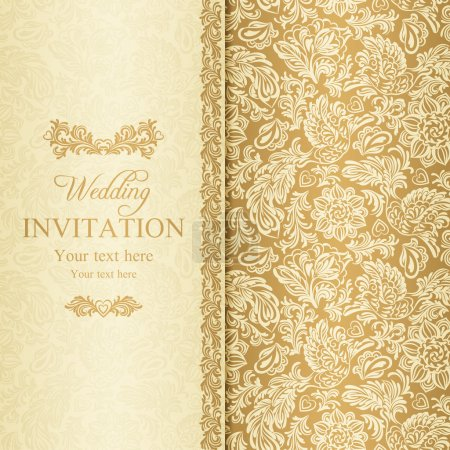 Illustration for Antique baroque wedding invitation, gold on beige background - Royalty Free Image