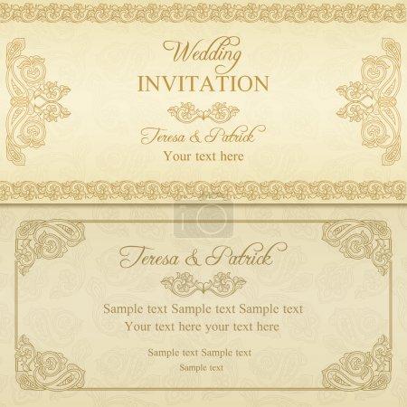 Illustration pour Antique invitation de mariage baroque, or sur fond beige - image libre de droit