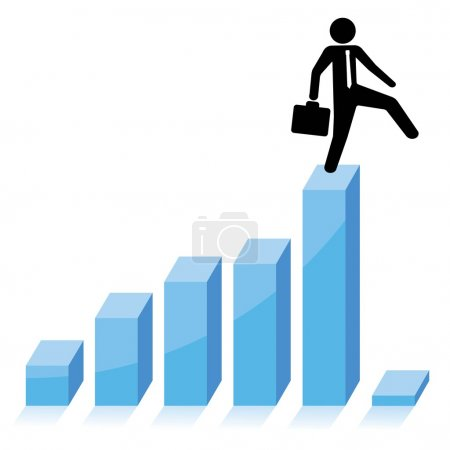 Illustration for Business concept, businessman falling down from graphic chart - Royalty Free Image