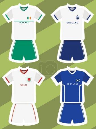 Set of abstract football jerseys, ireland, england, wales and scotland