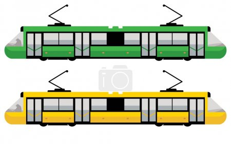 Illustration for Modern tram, green and yellow color - Royalty Free Image