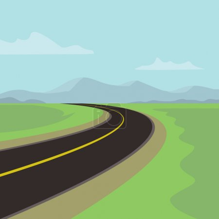 Illustration for Hard left turn without road sign - Royalty Free Image