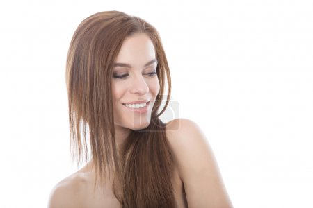 Beautiful red hair woman head and shoulders portrait.
