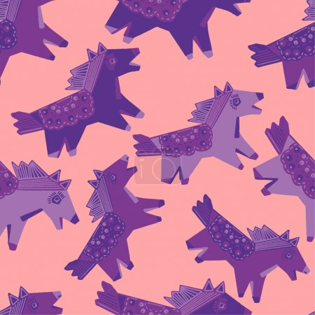 Illustration for Vector seamless pattern with horse, toy horse, colorful - Royalty Free Image