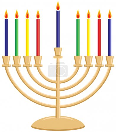 Hanukkah (Chanukkah) Menorah with Lit Candles