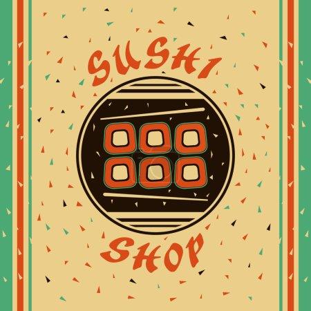 Illustration pour Emblème plat pour la boutique Sushi - image libre de droit