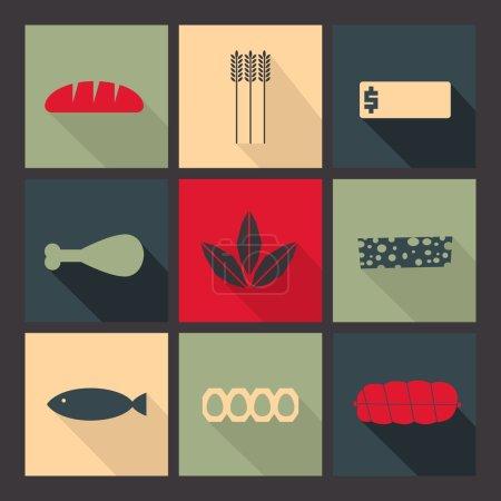 Illustration pour Icônes plates réglées. Minimalisme, varié, ombre longue - image libre de droit