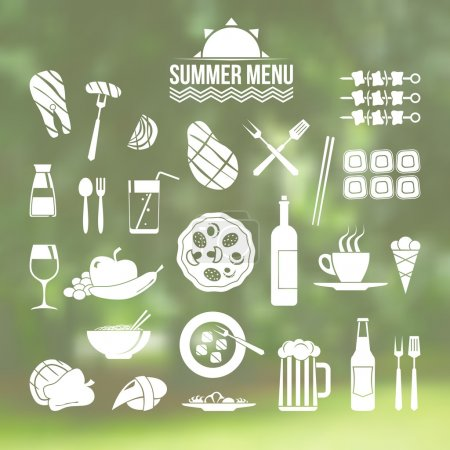 Photo for Icon set summer menu in flat style on blurred background - Royalty Free Image