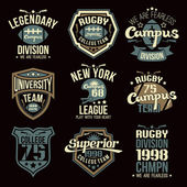 College rugby team emblems