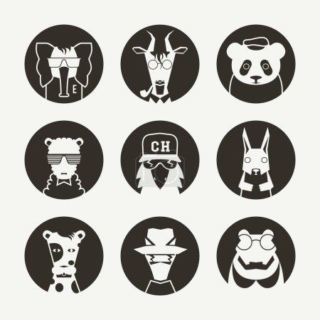 Set of stylized animal avatar for social network