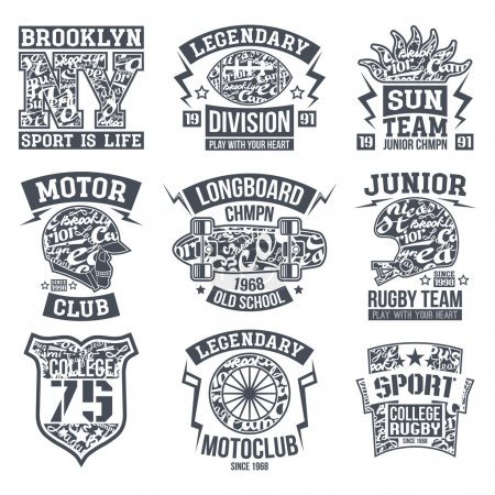 Sport emblem set graphic design for t-shirt