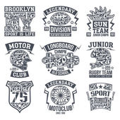 Rugby moto longboard college sport emblem graphic design for t-shirt Monochrome print on a light background