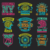 Rugby motoclub longboard college sport emblem graphic design for t-shirt Bright print on a dark background