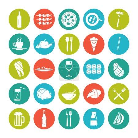 Illustration pour Icône mettre la nourriture d'été dans le style plat sur la plaque de couleur - image libre de droit