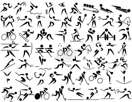 Illustration for A collection of pictograms of different practiced around the world and in the Olympic games - Royalty Free Image