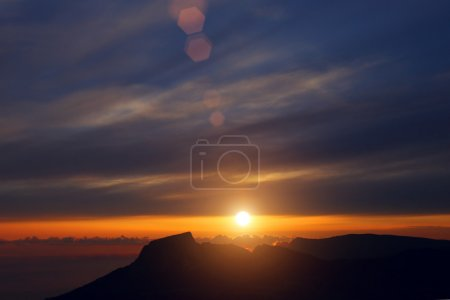 sunset over the mountains of Crimea, a mountain Ilyas-Kaya