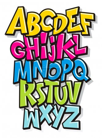 Illustration pour Alphabet de polices dessin animé comique doodle. Vector - image libre de droit