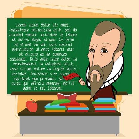 Illustration for Vector Miguel De Cervantes Cartoon In A Classroom Scene - Royalty Free Image