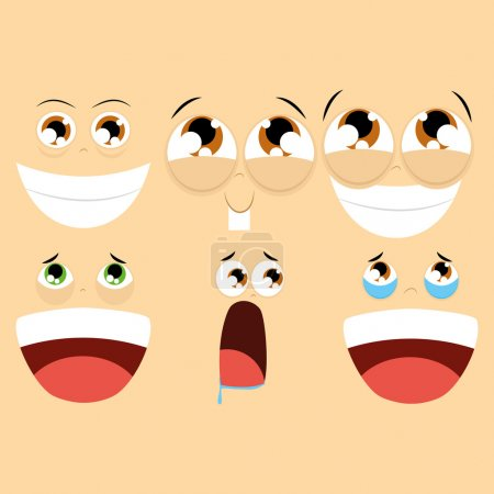 Illustration for Vector Set Of Different Cartoon Faces Isolated - Royalty Free Image
