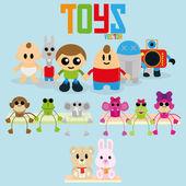 Sada hraček různých kreslených izolované
