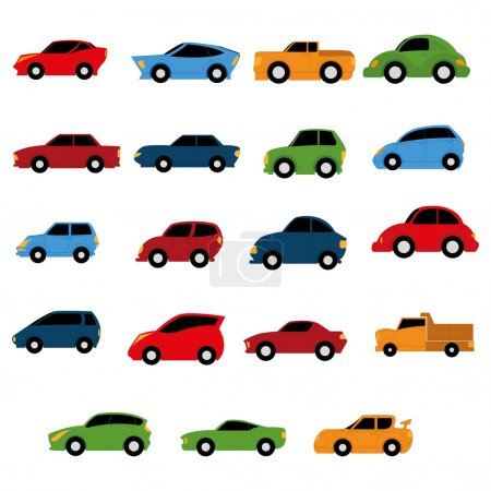 Vector Set Of Different Colorful Cars Isolated