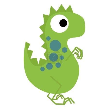 A Vector Cute Cartoon Green Dinosaur Isolated