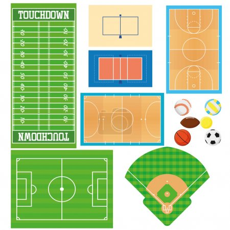 Illustration for Different Sports Fields Set  Isolated On White Background - Royalty Free Image