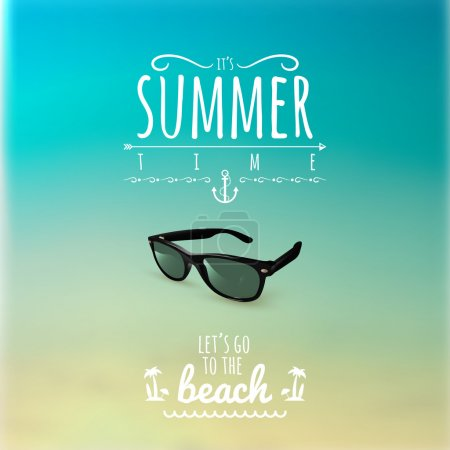 Summer Label with Sunglasses on a Blurred Background  Vector Illustration