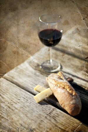 Red Wine, bread and cheese