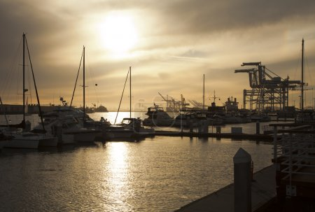 Line of yachts and tug boats in Oakland, California