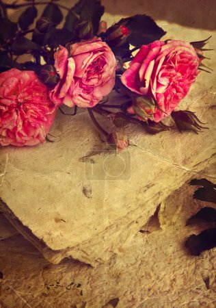 Photo for Beautiful flower background with roses and handmade paper, Rose bouquet, wedding card, spring flowers - Royalty Free Image