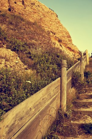 Wooden stairway in mountains