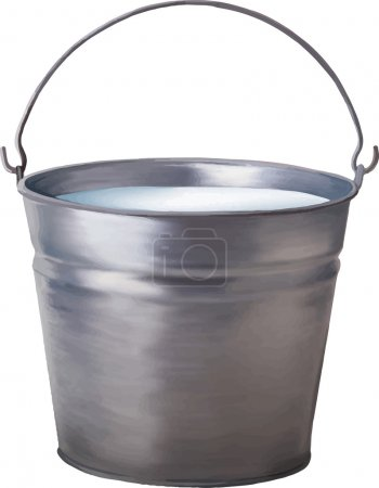 Vector illustration of Metallic bucket with milk