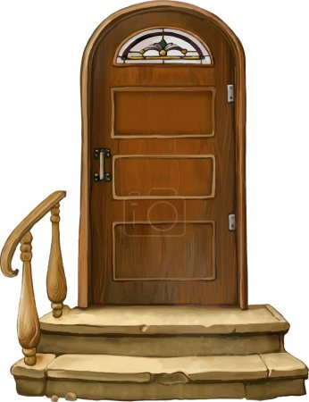 Vector illustration of Old wooden door