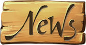 Vector illustration of News Wooden sign isolated on white Wood old planks sign