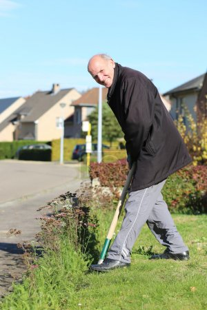Man working gardening